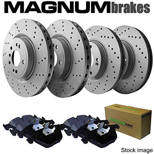 Front and Rear MagnumBrakes Cross Drilled Brake Rotors & Ceramic Brake Pads for 2012-2015 Chrysler Town & Country w/Heavy Duty Brakes