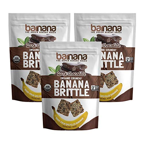 - Barnana Organic Crunchy Banana Brittle - Dark Chocolate, 3.5 Ounce (3 Count) - Healthy Vegan Cookie Style Dessert Snack - Made with Sustainable, Eco Friendly Upcycled Bananas