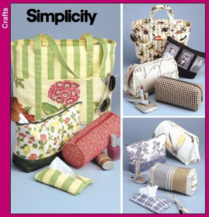 (Simplicity 9949 Sew Pattern : Tote Bag, Purse, Cosmetic Bags and Tissue Case)