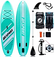 """AKSPORT 10'6""""×32""""×6"""" Inflatable Stand Up Paddle Board with Premium Non-Slip Deck,Travel Bac"""