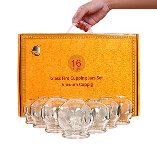 MAYMII·HOME 16 pcs Professional Fire Glass Cupping Set Jars Top Quality (2 cups #1) (2 cups #2) (4 cups #3) (4 cups #4) (2 cups #5) (2 joint cups)