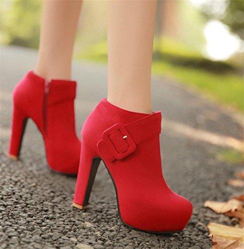 Cheville de Tempérament Chaussures Femme personnalité Soirée Chaussure Chaussures Martin de HETAO de de pour Forme Chaussure Élégant Heel Red Stiletto Talons X7fwTAqxB
