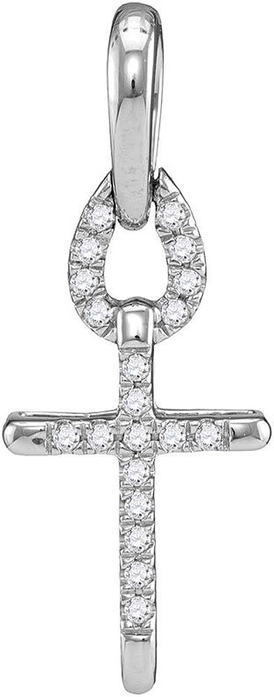 10KT White Gold Round Diamond Small Roman Cross Religious Pendant 0.09 Cttw