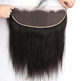 Sunniess Hair Ear to Ear 13×4 Virgin Human Hair Brazilian Full Lace Frontal Closure Straight 13×4 lace frontal Natural Color (8inch)