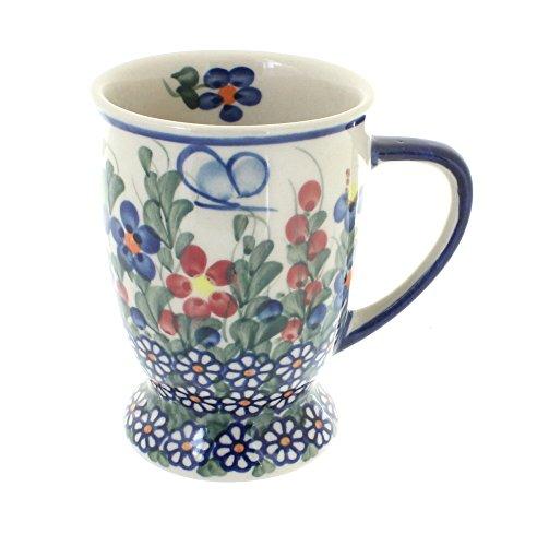 (Polish Pottery Garden Butterfly Pedestal Coffee Mug)