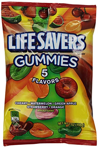 Life Savers 5 Flavors Gummies Candy Bag, 7 -