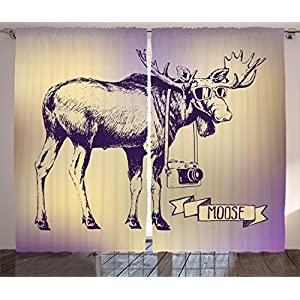 Moose Curtains 2 Panel Set Hipster Deer with Shades Sunglasses and Camera Vintage Ombre Design Funny Animal Art Living Room Bedroom Decor Purple Beige