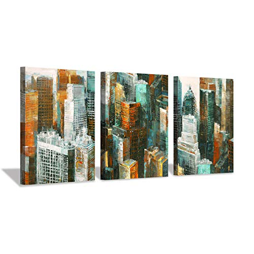 "Hardy Gallery Abstract Cityscape Wall Art Print: New York Architecture Artwork Painting on Canvas Reproduction for Office Decoration (16 "" x 12 "" x 3 Panels)"
