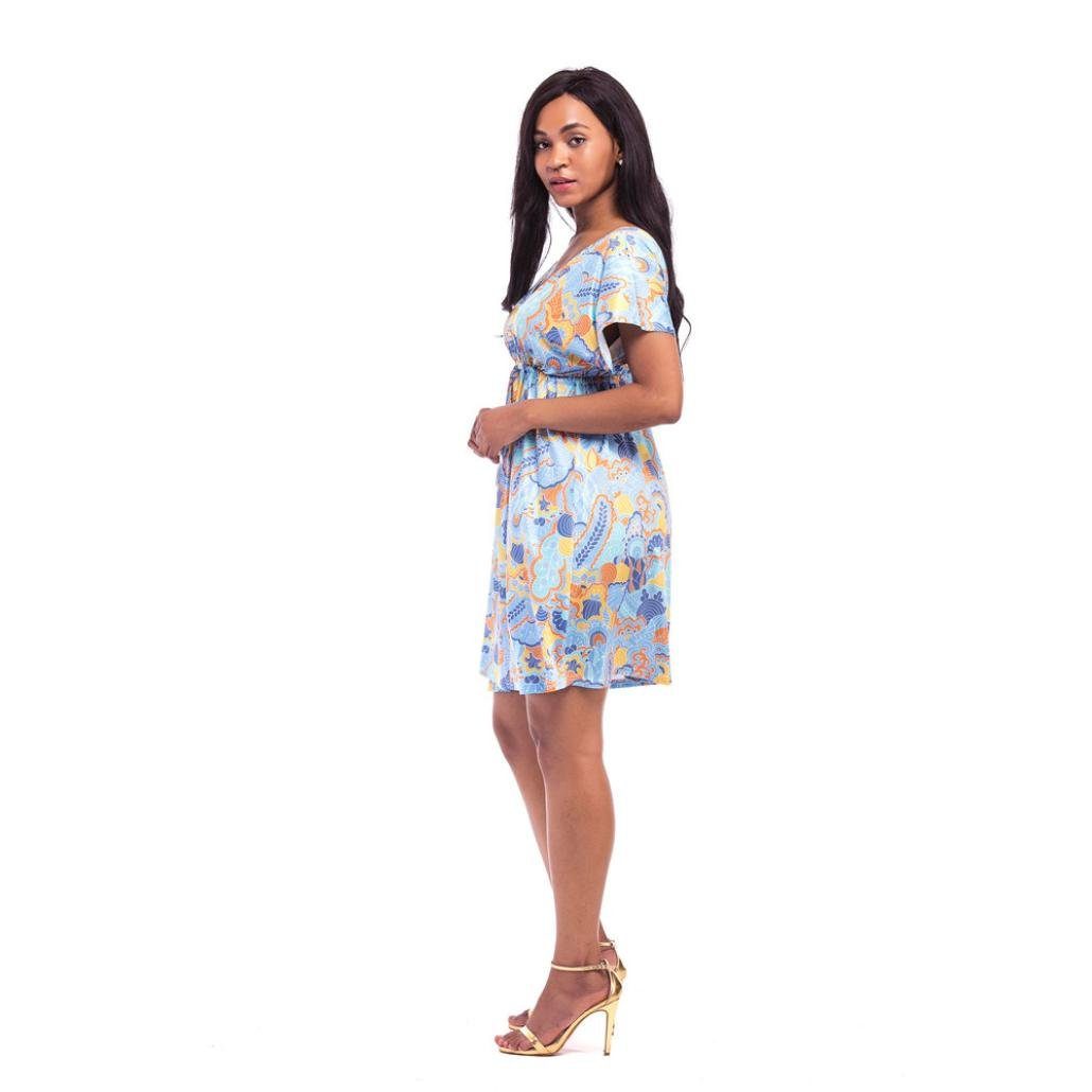 iYYVV Womens Fashion Short Sleeve Print V Neck Sexy Casual Loose Dress Plus: Amazon.co.uk: Clothing