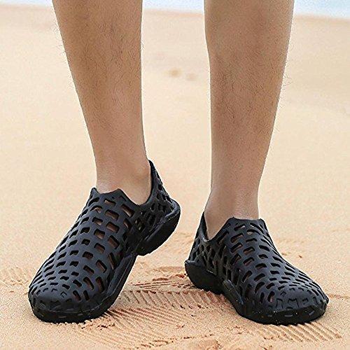 Huateng Unisex Sandals Men Women Beach Sport Casual Flip Flops Couple Hollow Shoes Black H4gxE2ASj
