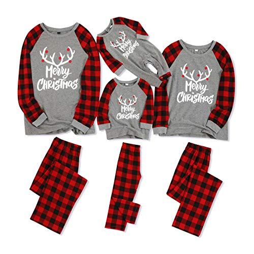 Yaffi Matching Family Pajamas Sets Christmas PJ's with Letter Printed Long Sleeve Tee and Red Plaid Pants Loungewear Kids: 8-9 Years