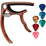 TOQIBO Guitar Capo with 6 Free Guitar Picks for Acoustic and Electric Guitars - Also Ukulele & Banjo Capos (Rosewood Color)