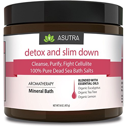 ASUTRA DETOX & SLIM DOWN - 100% Pure Dead Sea Bath Salts/Cleanse, Purify & Fight Cellulite/Rich In Vital Healing Minerals/Organic Essential Oils of Eucalyptus, Tea Tree and Lemon - 16oz by ASUTRA