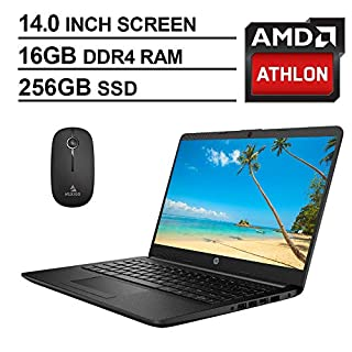 2020 Newest HP 14 Inch Premium Laptop, AMD Athlon Silver 3050U up to 3.2 GHz, 16GB DDR4 RAM, 256GB SSD, WiFi, HDMI, Windows 10 in S, Jet Black + NexiGo Wireless Mouse Bundle