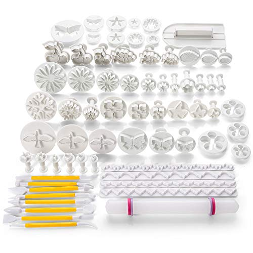 - 68pcs Fondant Cake Decoration Tools Kit Sugarcraft Icing Mold Mould Cutters Bakeware Gumpaste Modelling Tool, Rolling Pin Smoother Embosser Flower Scissors Accessories Supplies