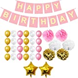 BELLE VOUS Happy Birthday Banner in White, Pink and Gold – 33 Pcs Birthday Party Decorations Garland, Star Foil Balloons, Paper Pom Poms and Latex Balloons – Birthday Decoration Supplies