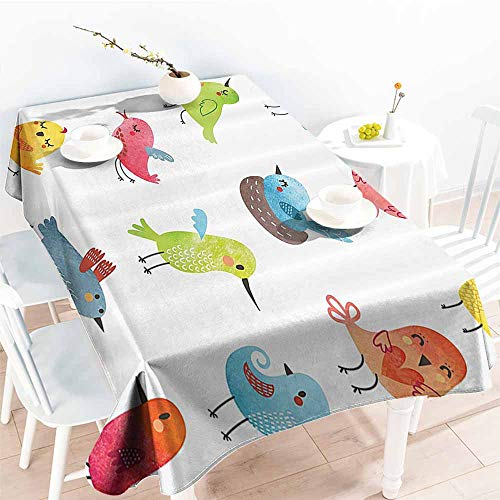 (HRoomDecor Table Cloth for Dinner Parties,Animal,Colorful Cute Birds Watercolor Effect Humor Funny Mascots Paint Brush Art Kids Design,Multi 52