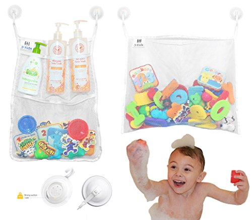 3 Kids - Premium 2 Large Bathtub Toy Organizer Set With 6 Strong Suction Cup Hooks - Multi-Use Mesh Net Storage Bags For Easy Toy & Bath Product Storage - Keep Bath Toys Dry & Mold Free! 51jerrqNylL