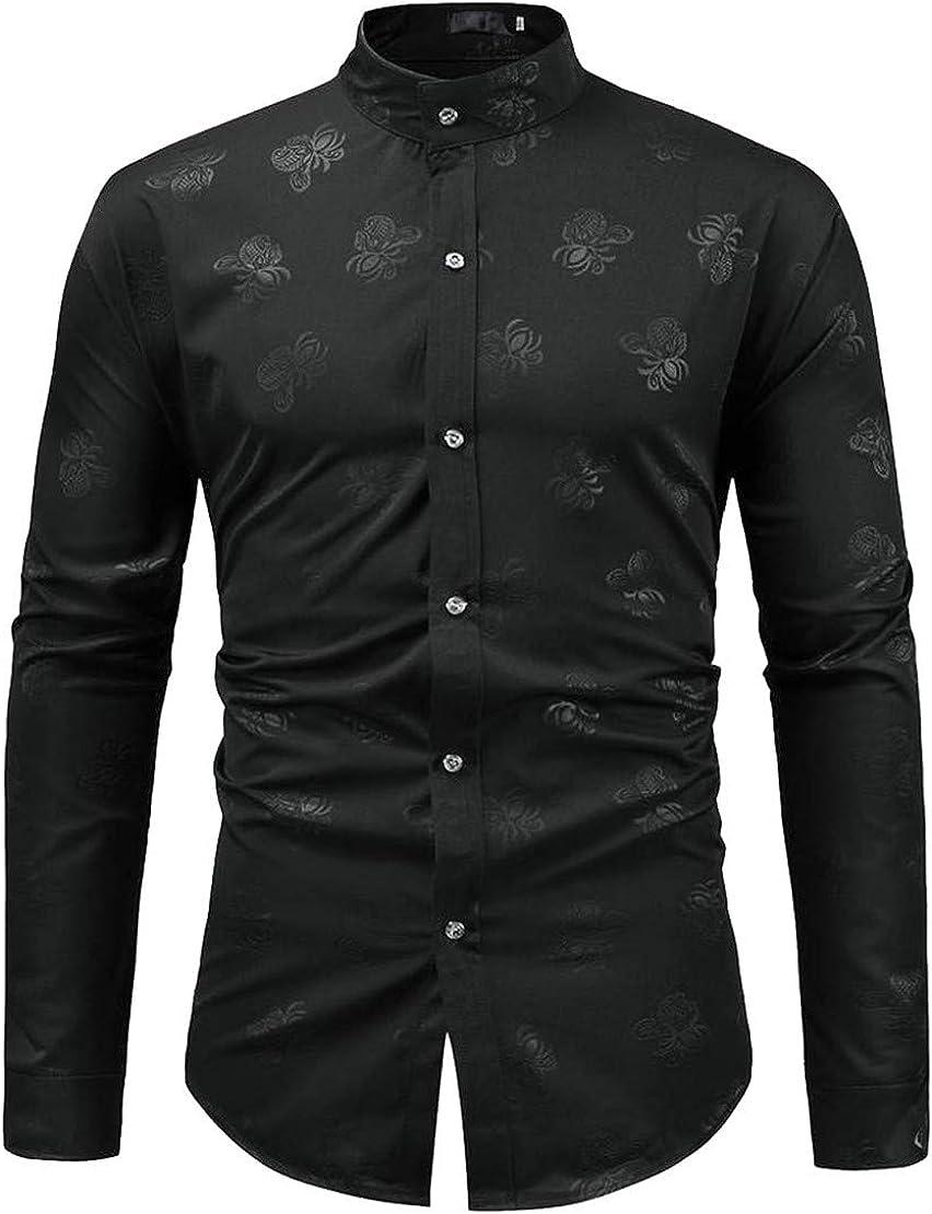 JuJuTa Mens Stand Collar Long Sleeve Floral Print Curved Hem Button Down Shirts