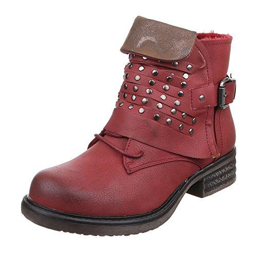 Ital-Design - botas estilo motero Mujer borgoña