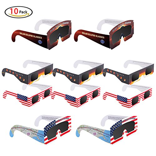 Price comparison product image Solar Eclipse Glasses,CE Certified and ISO Approved Safe Solar Viewing, Solar Eclipse Filter Shades 2017 Eye Protection (10 Pack)