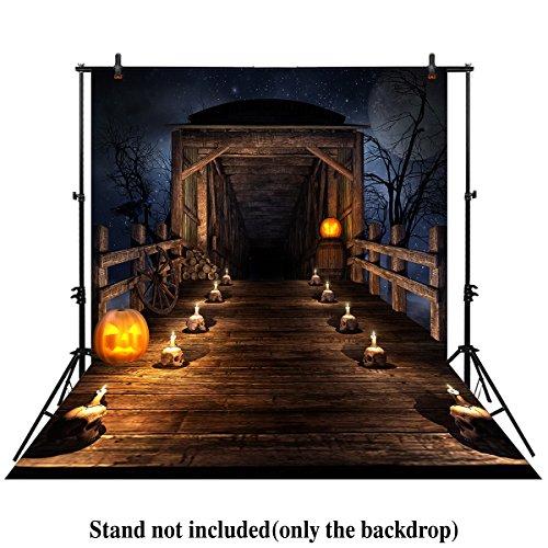 Pumpkin Skull Prop (Allenjoy 5x7ft photography backdrop background scary Wooden bridge night Halloween candles skulls pumpkins newborn baby shower props photo studio booth)