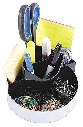 KANTEK Desktop Organizer, Black/Silver, Plastic