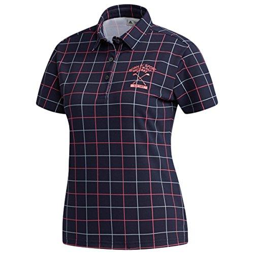 アディダス Adidas 半袖シャツ?ポロシャツ ストレッチ ADICROSS チェックプリント 半袖ポロシャツ レディス ネイビー S