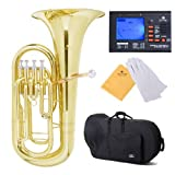 Cecilio 2Series EP-280 Lacquer Brass Bb Euphonium with Stainless Steel Pistons, Yellow