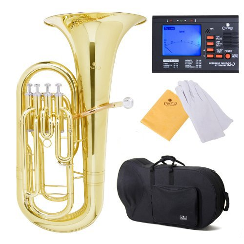 Cecilio 2Series EP-280 Lacquer Brass Bb Euphonium with Stainless Steel Pistons, Yellow by Cecilio