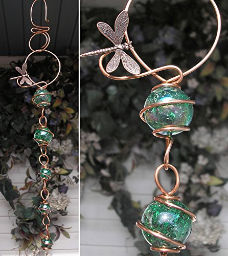 Dragonfly Suncatcher Cascade - Metal Sculpture - Glass Copper Art - Yard Lawn Outdoor Pond Decor Green
