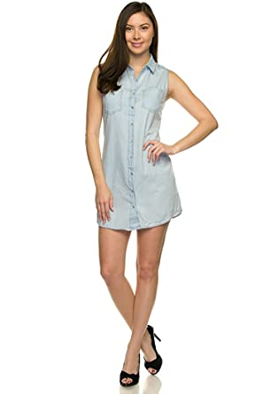 wax jean Juniors Sleeveless Soft Denim Shirt Dress-Light-S