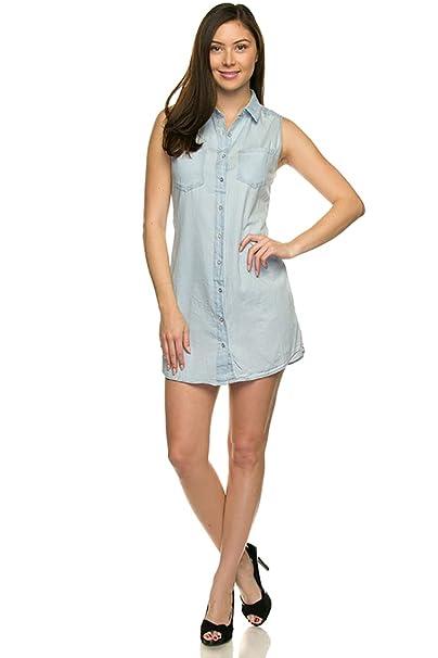 best wholesaler authentic quality 50% off wax jean Junior's Sleeveless Soft Denim Shirt Dress at ...
