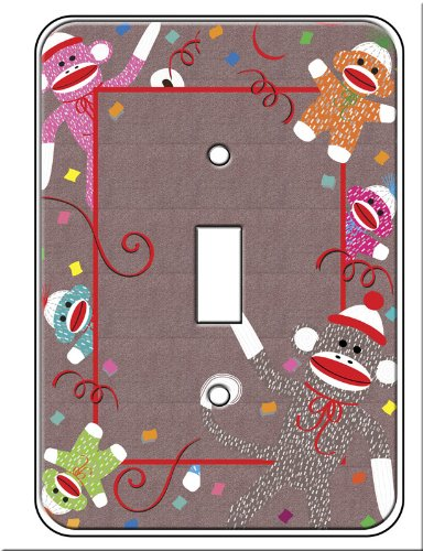 Sock Monkey Single Toggle Light Switch Plate Cover by Jessies Designs