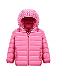 Baby Boys Girls Winter Packable Hooded Down Jacket Kids Rainbow Collection Coat