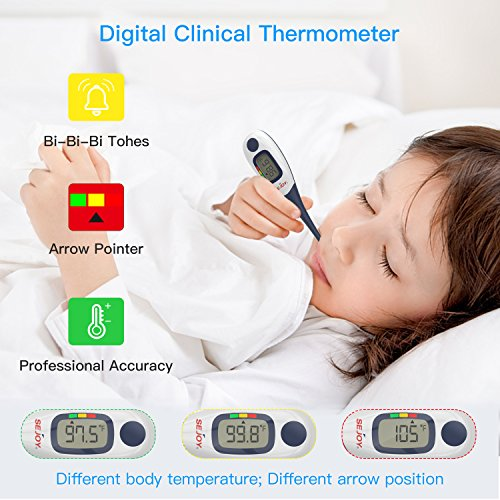 Digital Medical Thermometer, SEJOY 10-Second Fast Reading Temperature Thermometer with Flexible Tip, Large Digital Display, Waterproof & Fever Indicator for Infants, Children, Adults, Elderly & Pets by Sejoy (Image #3)