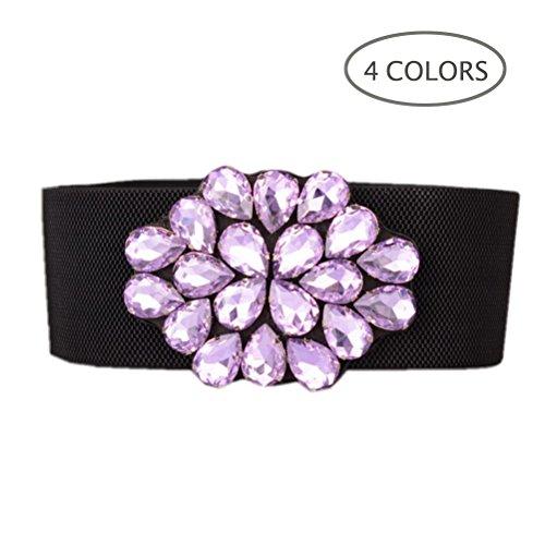 Dorchid Women Blet for Dress Classic Solid Floral Elastic Wide Buckle for Special Occasion Belts Cummerbund Plus Size Purple L ()