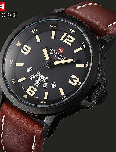HJL-los hombres de la marca de lujo de cuarzo reloj de cuero reloj analógico se divierte los relojes militares (colores surtidos) , black: Amazon.es: ...