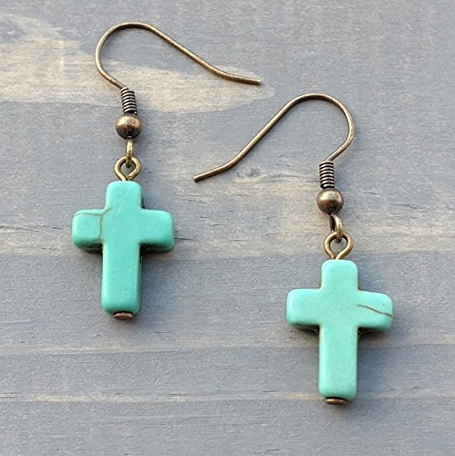 Bronze/Brass Tone Turquoise Colored Howlite Cross Earrings, Handmade Southwestern Women's Jewelry