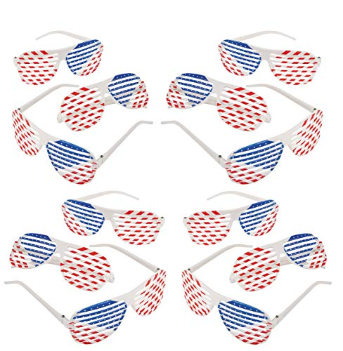 12 Pack Patriotic Shutter Glasses Plastic Bulk, 4th of July Party Favors Supplies, Great Photo Props, Goodie Bag Filler & Stocker, By 4E's Novelty ()