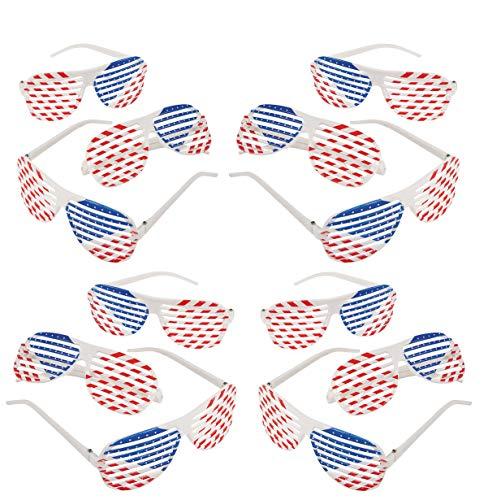 12 Pack Patriotic Shutter Glasses Plastic Bulk, 4th