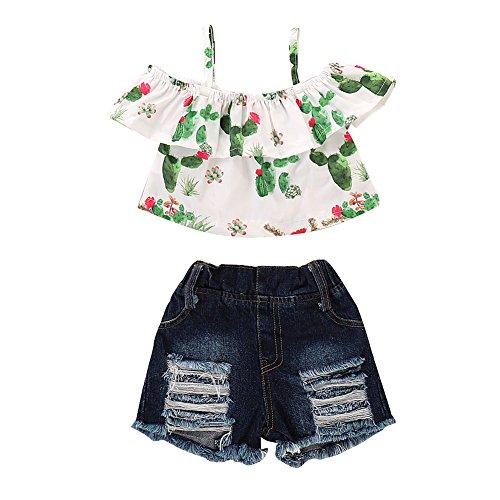 Mikrdoo 3 Pcs Toddler Girl Summer Outfits Off The Shoulder Cactus Shirt Tops + Denim Shorts 2PCS Clothes Set (2-3 Years, D)]()