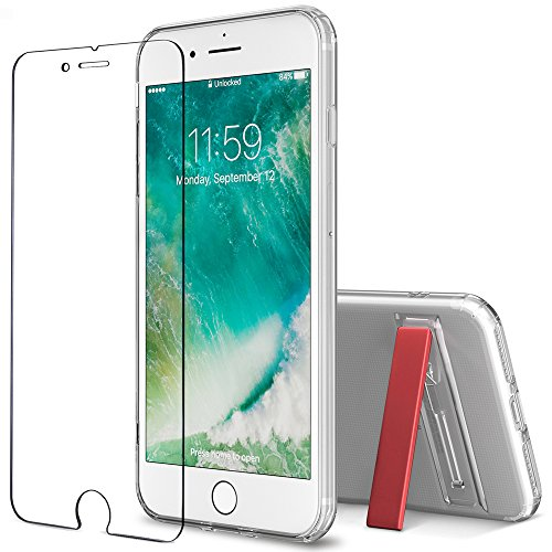 iPhone 7 Plus 8 Plus case, FlexGear [Kickstand] Clear TPU Case + Glass Screen Protector (Red) - Kickstand Screen