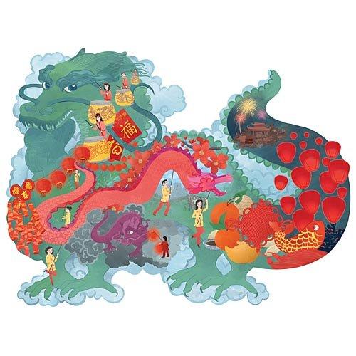 Chinese New Year Dragon Shaped 300 Large Piece Jigsaw