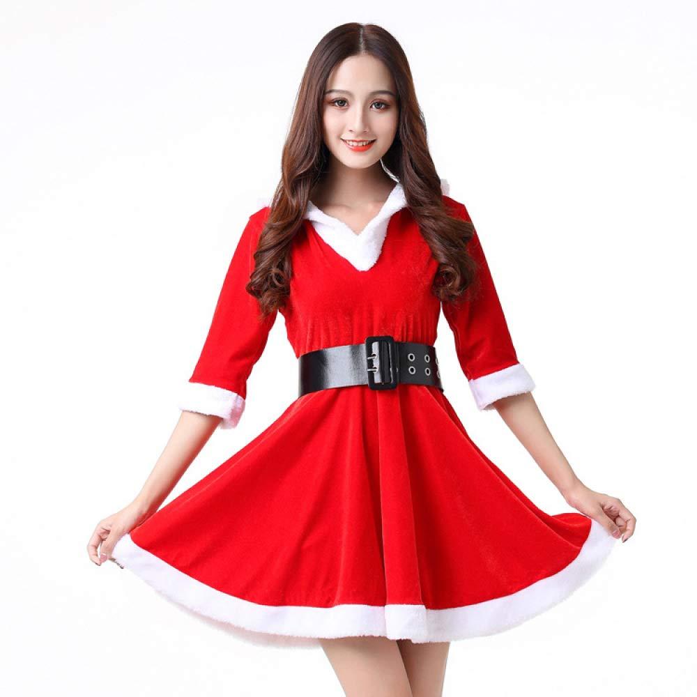 Shisky Disfraz de Navidad Adulto,Traje de Navidad Trajes de Terciopelo de Oro Santa Claus Ropa Etapa Rendimiento