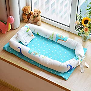 Abreeze Baby Bassinet for Bed -Dinosaur Baby Lounger – Breathable & Hypoallergenic Co-Sleeping Baby Bed – 100% Cotton Portable Crib for Bedroom/Travel 0-24 Months
