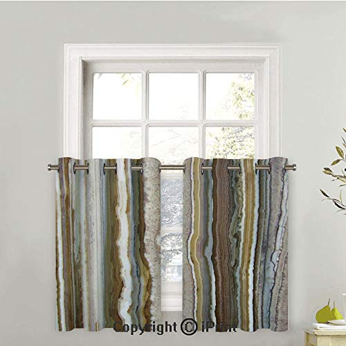 - Blackout Curtains Panels for Bedroom Noise Reducing Thermal Insulated Solid Ring Top Blackout Window Drapes, Onyx Marble Rock Themed Vertical Lines and Blurry Stripes in Earth Color,42