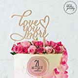 Love You More Heart Engagement & Wedding Cake Topper   Wooden Cake Toppers