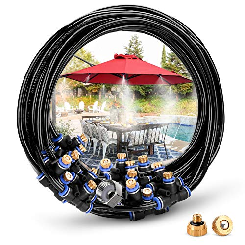 HOMENOTE Outdoor Misting Cooling System 59FT (18M) Misting Line + 26 Brass Mist Nozzles + a Brass Adapter(3/4) for Patio Garden Greenhouse Trampoline for ()
