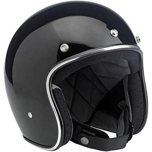 Biltwell Inc. Bonanza Gloss Black Open Face Helmet Medium